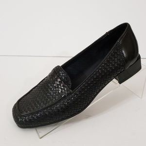Sesto Meucci 7.5 M Black Woven Square Toe Shoes